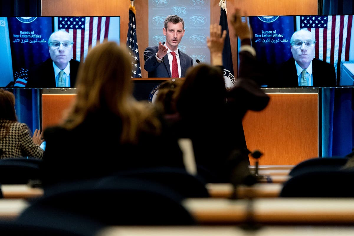State Department spokesman Ned Price takes a reporter's question for Special Envoy for Yemen Timothy Lenderking, Feb. 16, 2021. (Reuters)