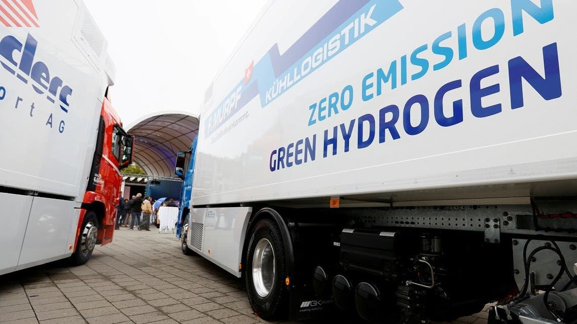 A new hydrogen fuel cell truck made by Hyundai is pictured ahead of a media presentation for the zero-emission transport of goods at the Verkehrshaus Luzern (Swiss Museum of Transport) in Luzern, Switzerland, on October 7, 2020. (Reuters)