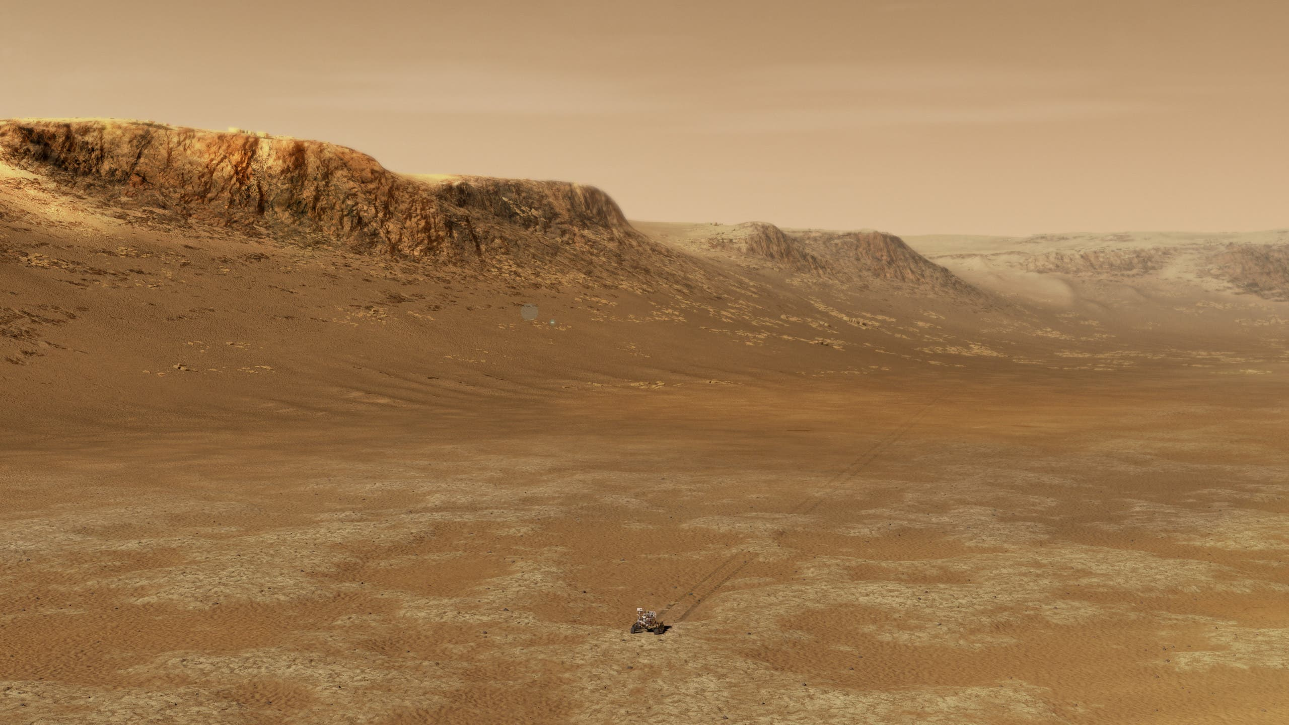 This NASA handout illustration obtained February 15, 2021 shows NASA's Perseverance rover exploring inside Mars' Jezero Crater. (AFP)