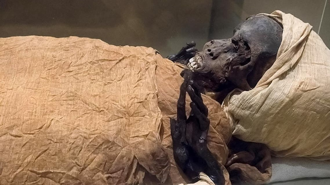 A handout picture released on February 17, 2021 shows a view of the mummy of ancient Egyptian King Seqenenre-Taa-II. (Egyptian Ministry of Antiquities/AFP)