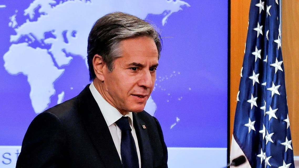 Secretary of State Antony Blinken begins his first press briefing at the State Department in Washington, Jan. 27, 2021. (Reuters)