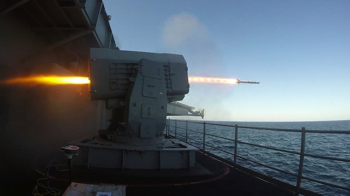 This US Navy photo obtained May 3, 2018 shows the Nimitz-class aircraft carrier USS Abraham Lincoln (CVN 72)as it launches a RIM-116 test rolling airframe missile during Combat Systems Ship Qualification Trials (CSSQT) on May 1, 2018 in the Atlantic Ocean.