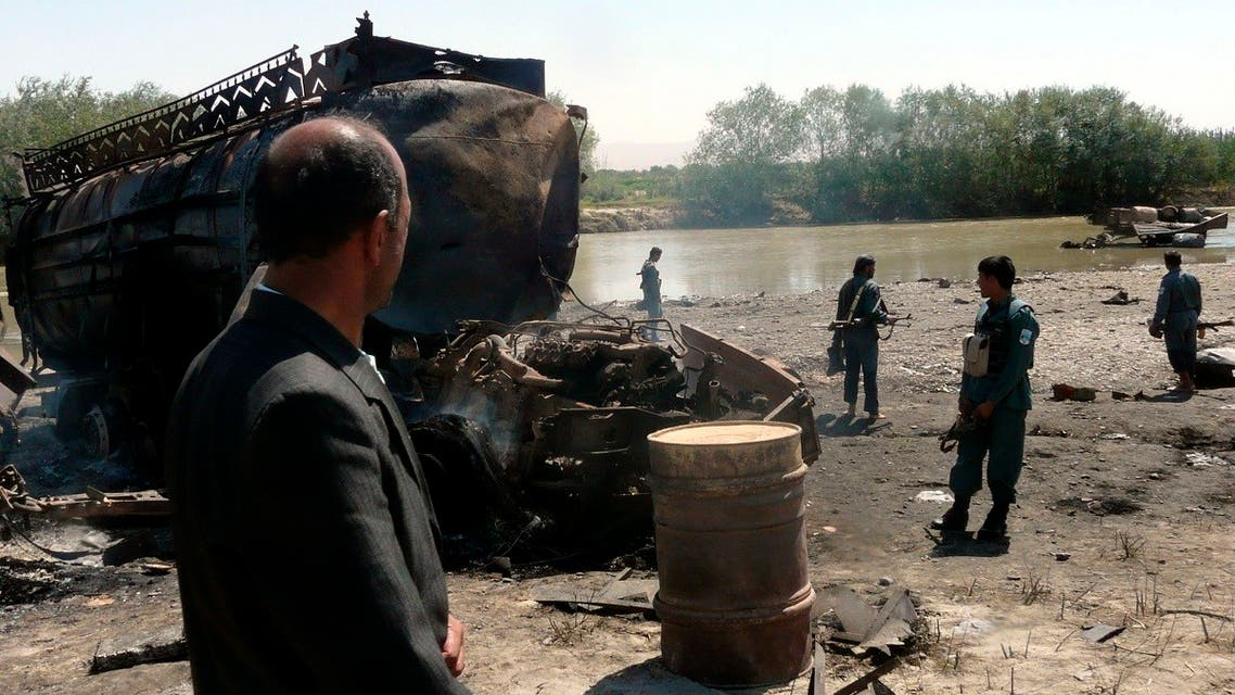 Afghan police inspect the site of an air strike in the Afghan city of Kunduz. (File phot: Reuters)