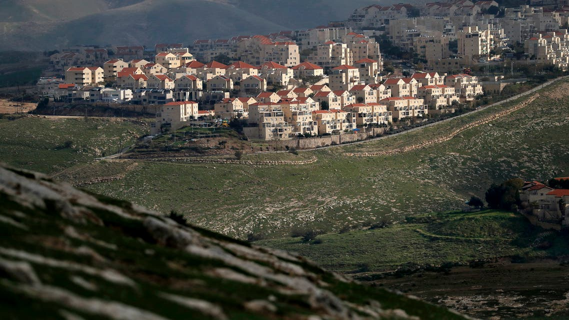 A picture taken from the E1 corridor, a super-sensitive area of the occupied West Bank, shows Israeli settlement of Maale Adumim in the background on February 25, 2020. (AFP)