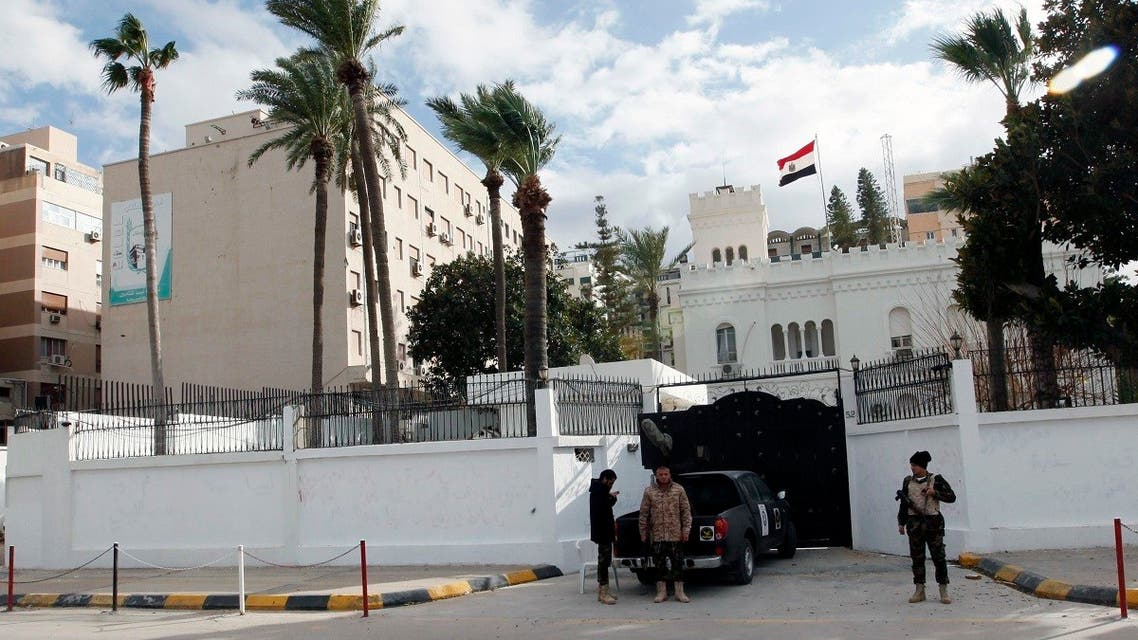 A general view of security in front of the Egyptian embassy in Tripoli, Libya, Jan. 25, 2014. (Reuters)