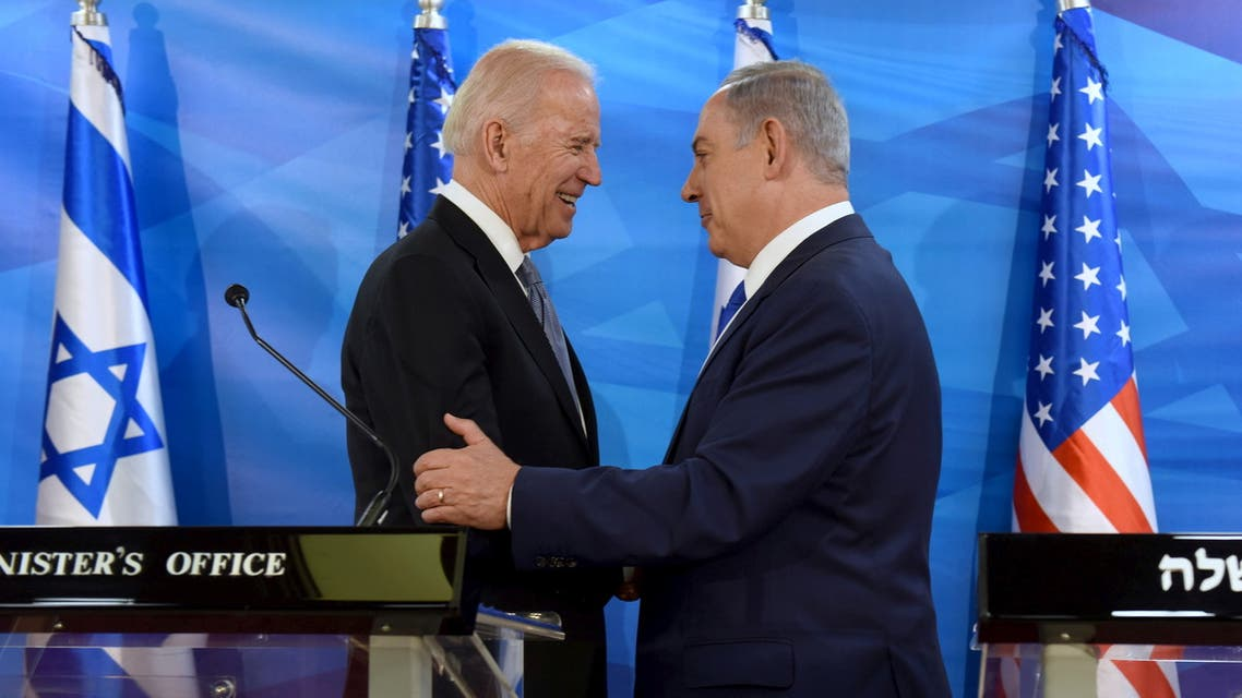 FILE PHOTO: U.S. Vice President Joe Biden (L) shakes hands with Israeli Prime Minister Benjamin Netanyahu as they deliver joint statements during their meeting in Jerusalem March 9, 2016. REUTERS/Debbie Hill/Pool/File Photo