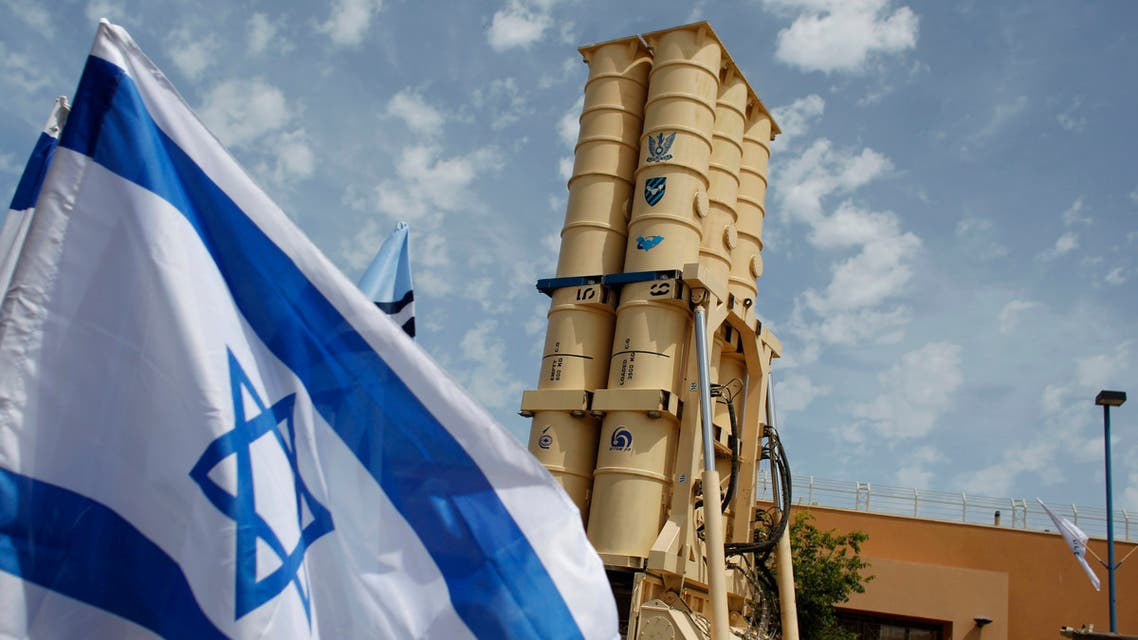 An Arrow II missile interceptor is displayed in front of journalists at an Israeli air defence command in the Palmahim military base south of Tel Aviv May 12, 2011. (Reuters)