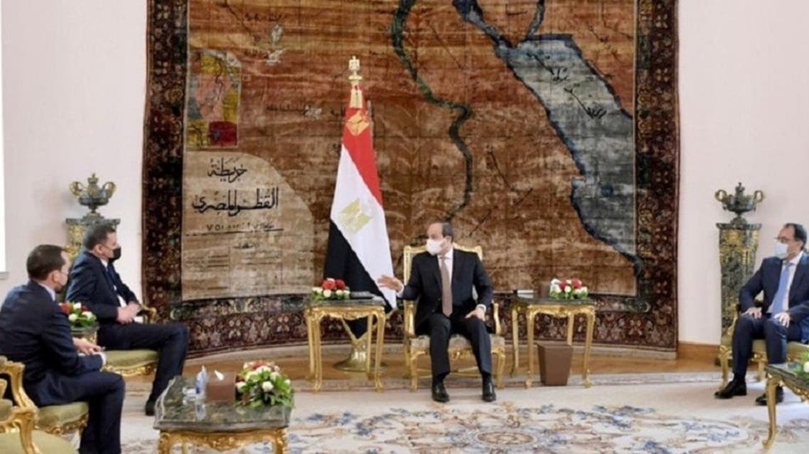 Egypt's President Abdel Fattah al-Sisi speaks during his meeting with Libyan Prime Minister Abdulhamid Dbeibeh at the Presidential Palace in Cairo, Egypt, on February 18, 2021. (Reuters)