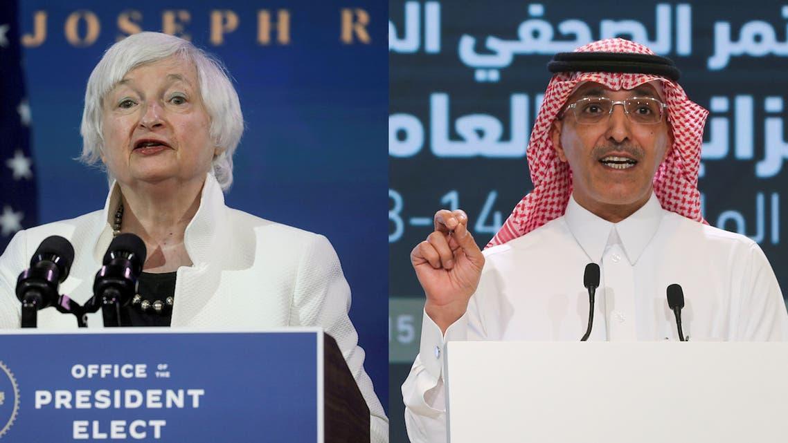 Combination photo shows US Treasury Secretary Janet Yellen and Saudi Finance Minister Mohammed al-Jadaan. (Reuters)