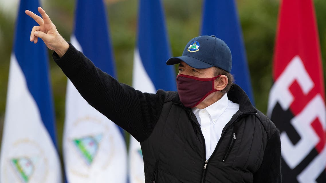 Handout picture released by Nicaragua's Presidency press office showing President Daniel Ortega wearing a facemask during the 41st anniversary of the Sandinista Revolution, held without a public event due to the COVID-19 pandemic, in Managua, on July 19, 2020. (AFP)
