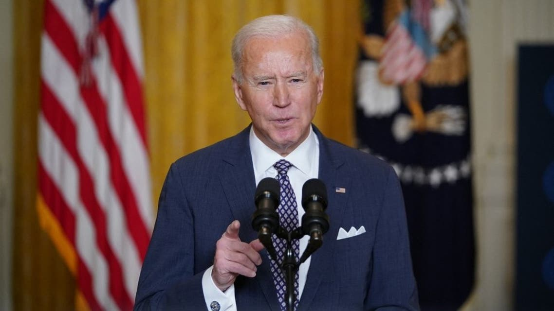 US President Joe Biden in the East Room of the White House in Washington, DC, on February 19, 2021. (AFP)