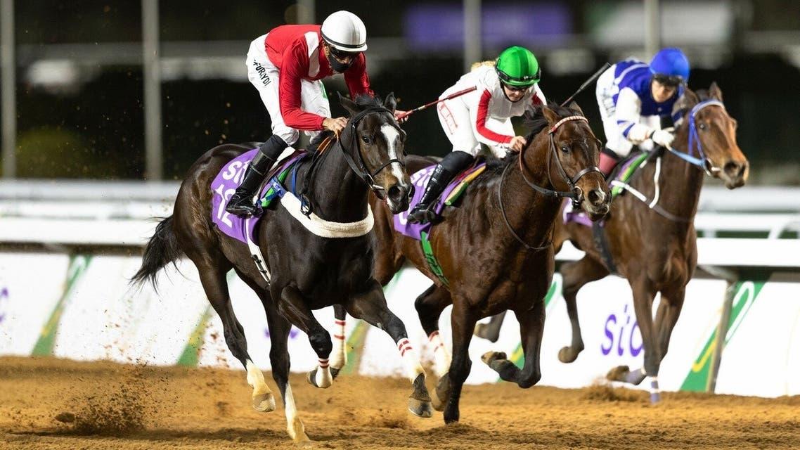 Racing action from the International Jockeys Challenge at the King Abdulaziz Racetrack, Riyadh. (Courtesy: Jockey Club of Saudi Arabia)