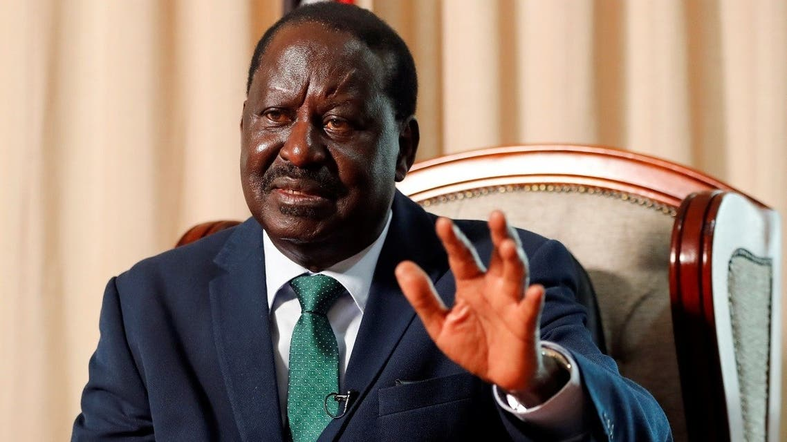 Raila Odinga, Kenya's former Prime Minister and the African Union (AU) High Representative for Infrastructure Development in Africa, gestures during an interview with Reuters in Nairobi, Kenya, on February 18, 2021. (Reuters)