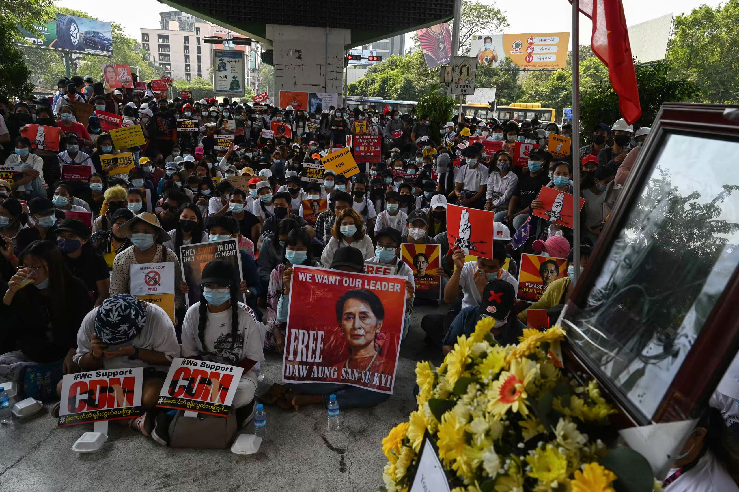 Protesters hold a vigil for Mya Thwate Thwate Khaing, a demonstrator who died from a gunshot wound during a rally against the military coup earlier in the month, in Yangon on February 20, 2021.(File photo: AFP)