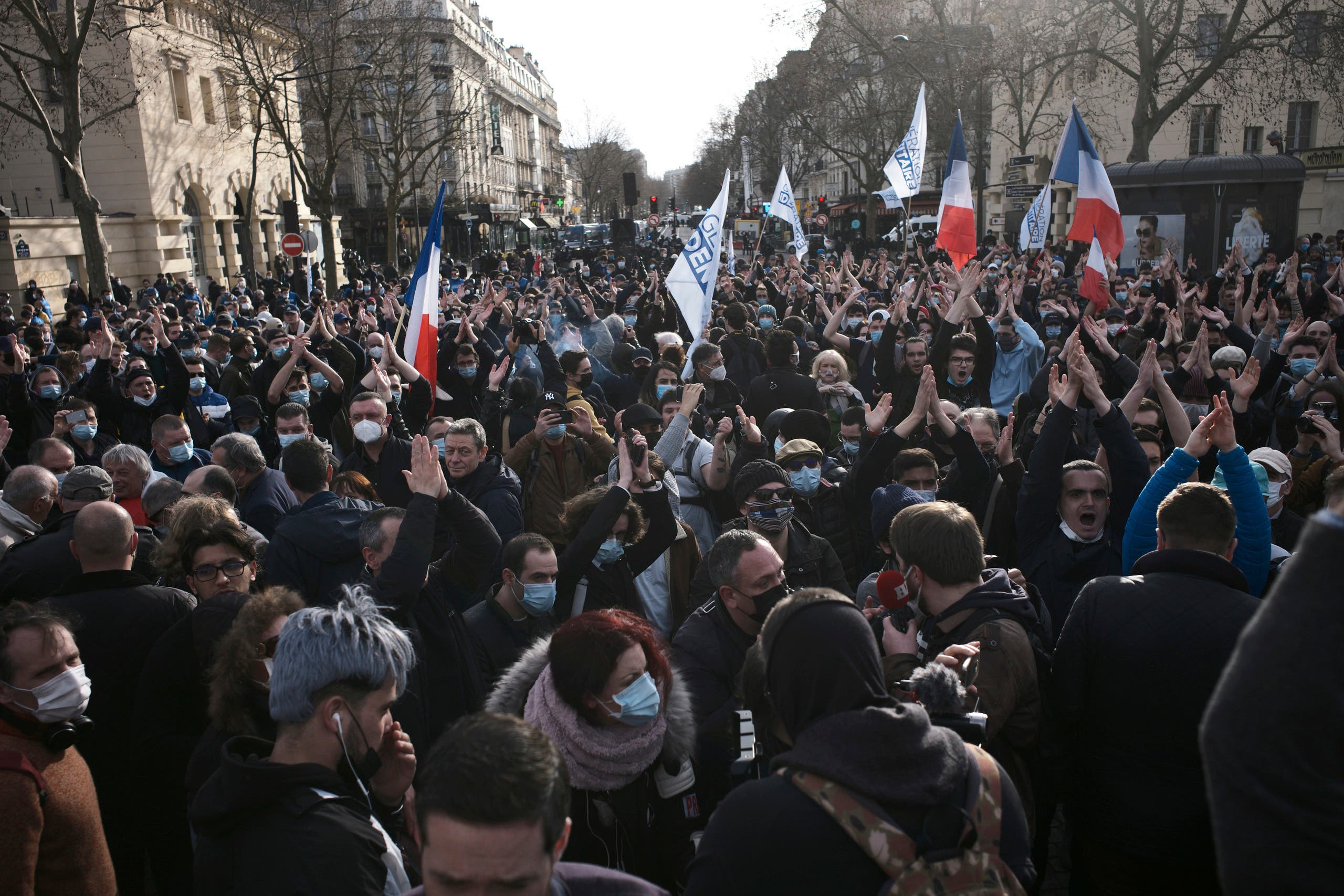 Supporters of the movement Generation Identity gather during a demonstration Saturday, February 20, 2021 in Paris. (AP)