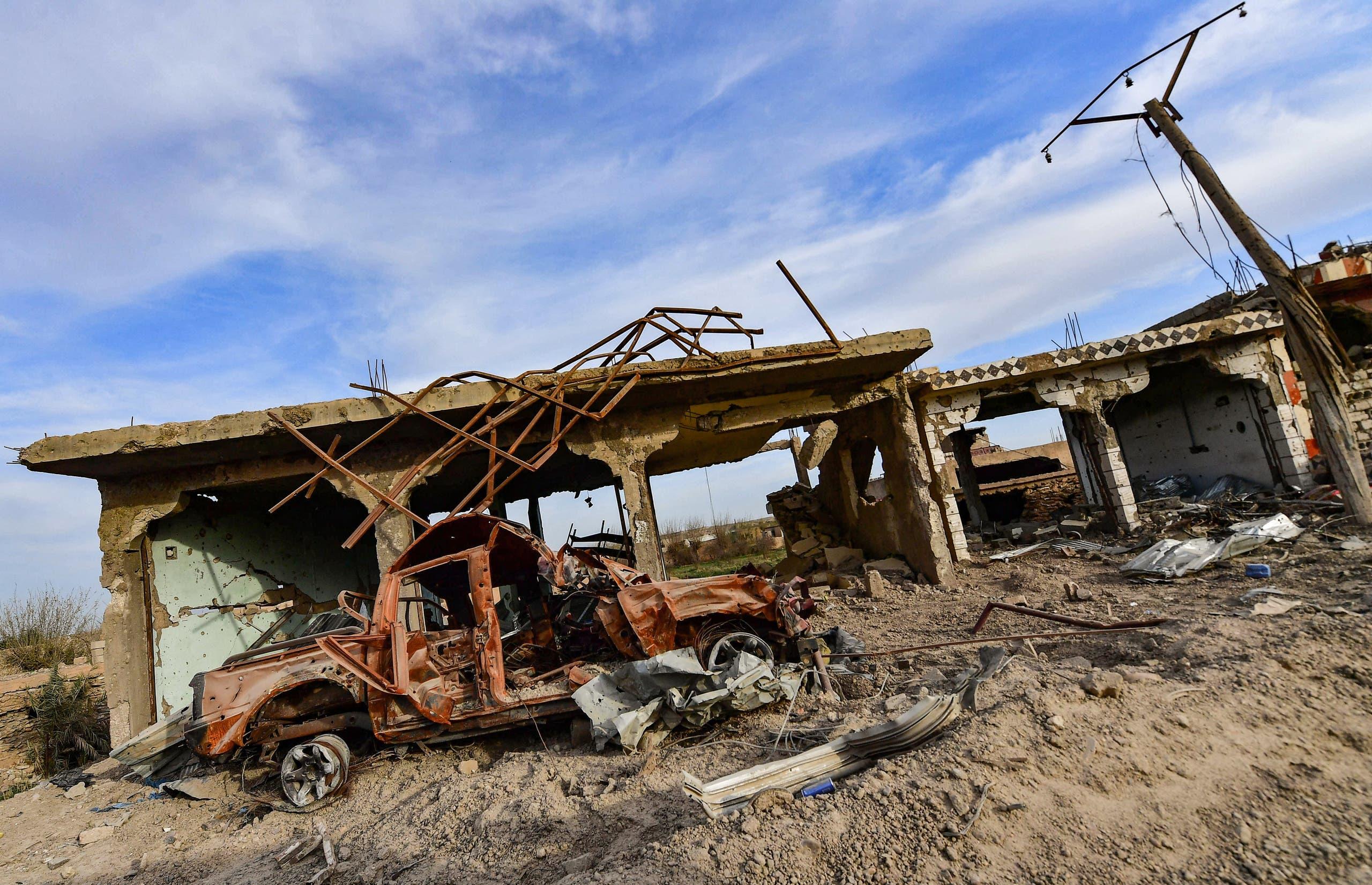 دیر الزور میں تباہی کے مناظر۔