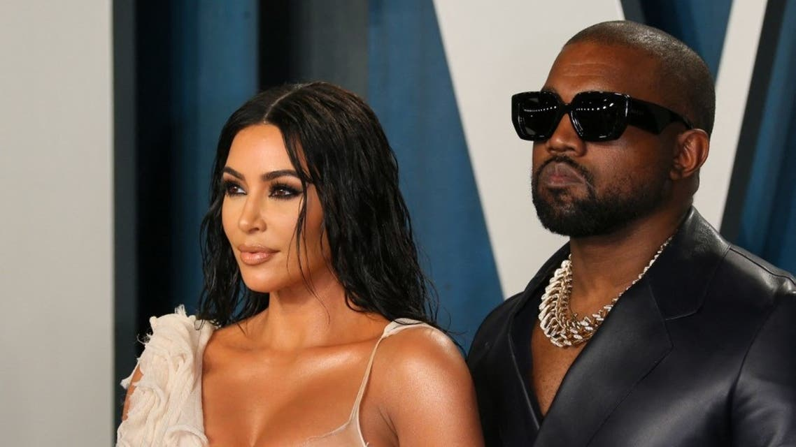 US media personality Kim Kardashian (L) and husband US rapper Kanye West attend the 2020 Vanity Fair Oscar Party following the 92nd Oscars at The Wallis Annenberg Center for the Performing Arts in Beverly Hills on February 9, 2020. (AFP)