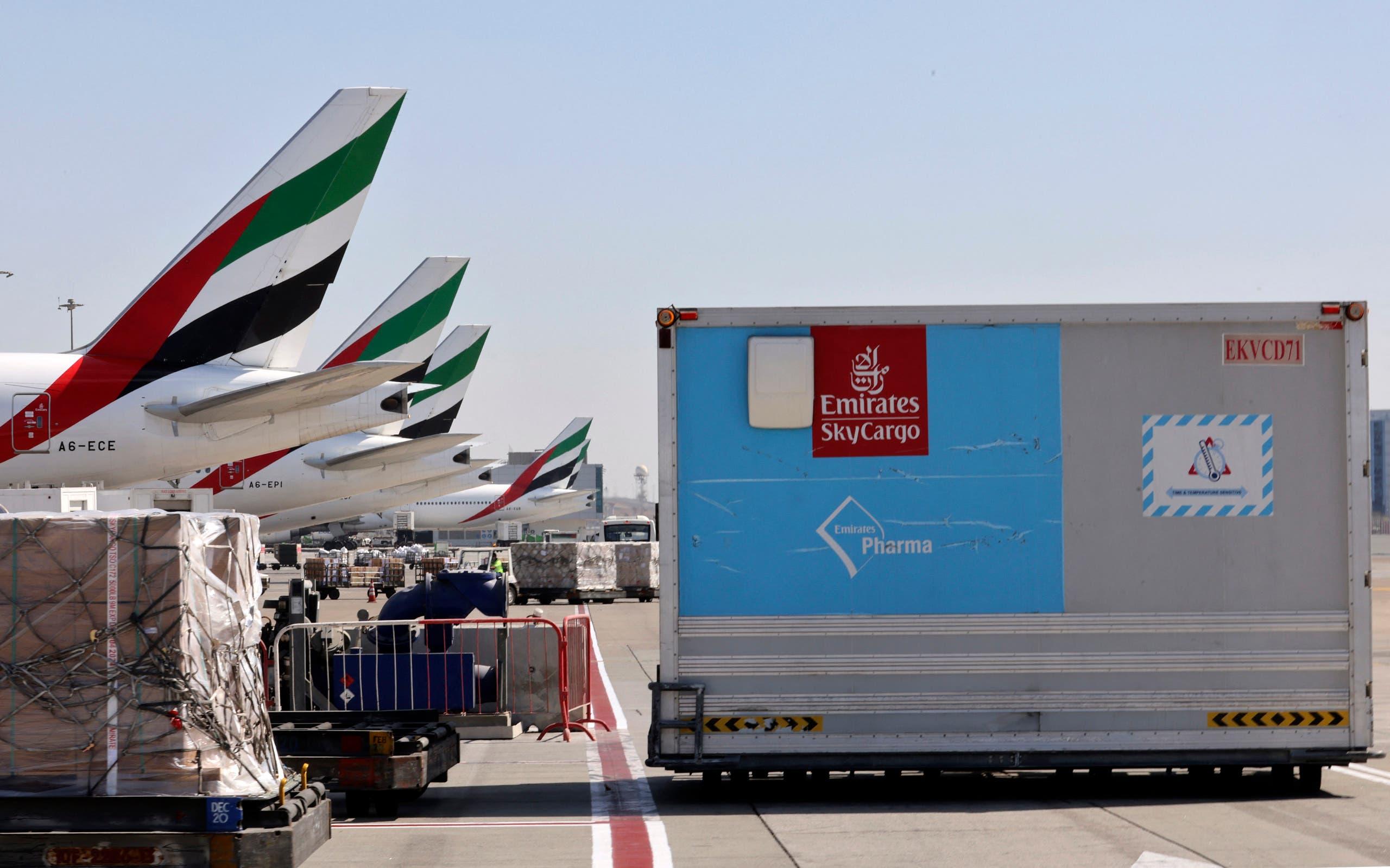 An Emirates Airlines Boing 777 plane unload a coronavirus vaccine shipment at Dubai International Airport on February 1, 2021. (File photo: AFP)