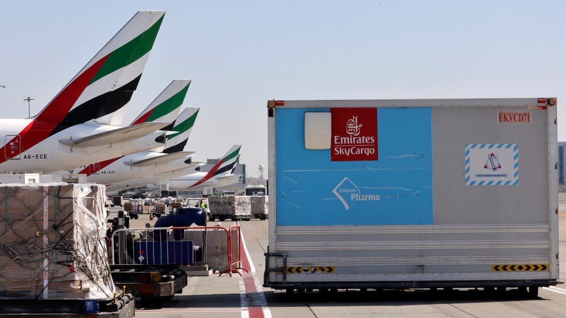 An Emirates Airlines Boing 777 plane unload a coronavirus vaccine shipment at Dubai International Airport on February 1, 2021. (File photo: AFP)
