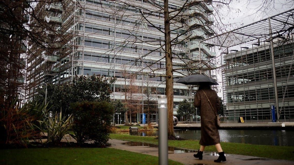 A pedestrian walks past an office block that houses the offices of China's CGTN Europe (China Global Television Network), in Chiswick Park, west London on February 4, 2021. (Tolga Akmen/AFP)