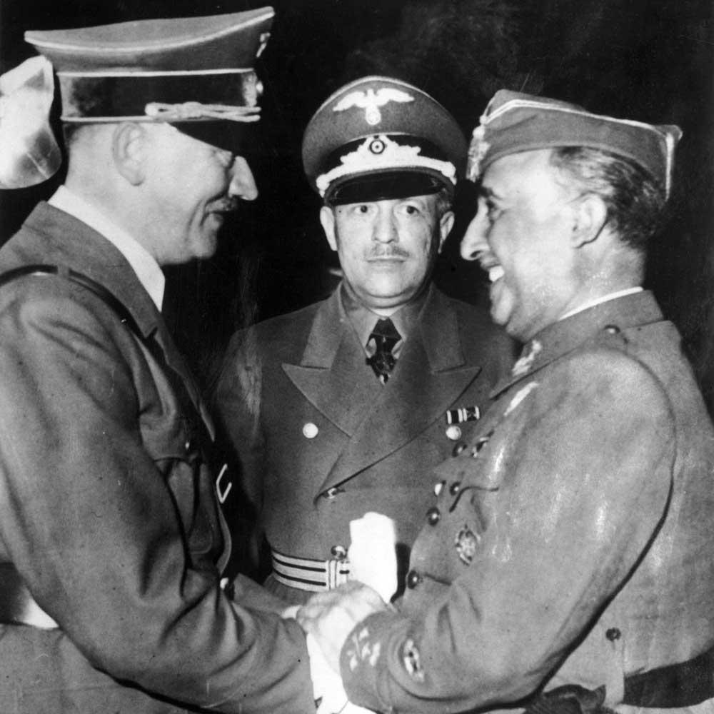 صورة للقاء أدولف هتلر وفرانسيسكو فرانكو