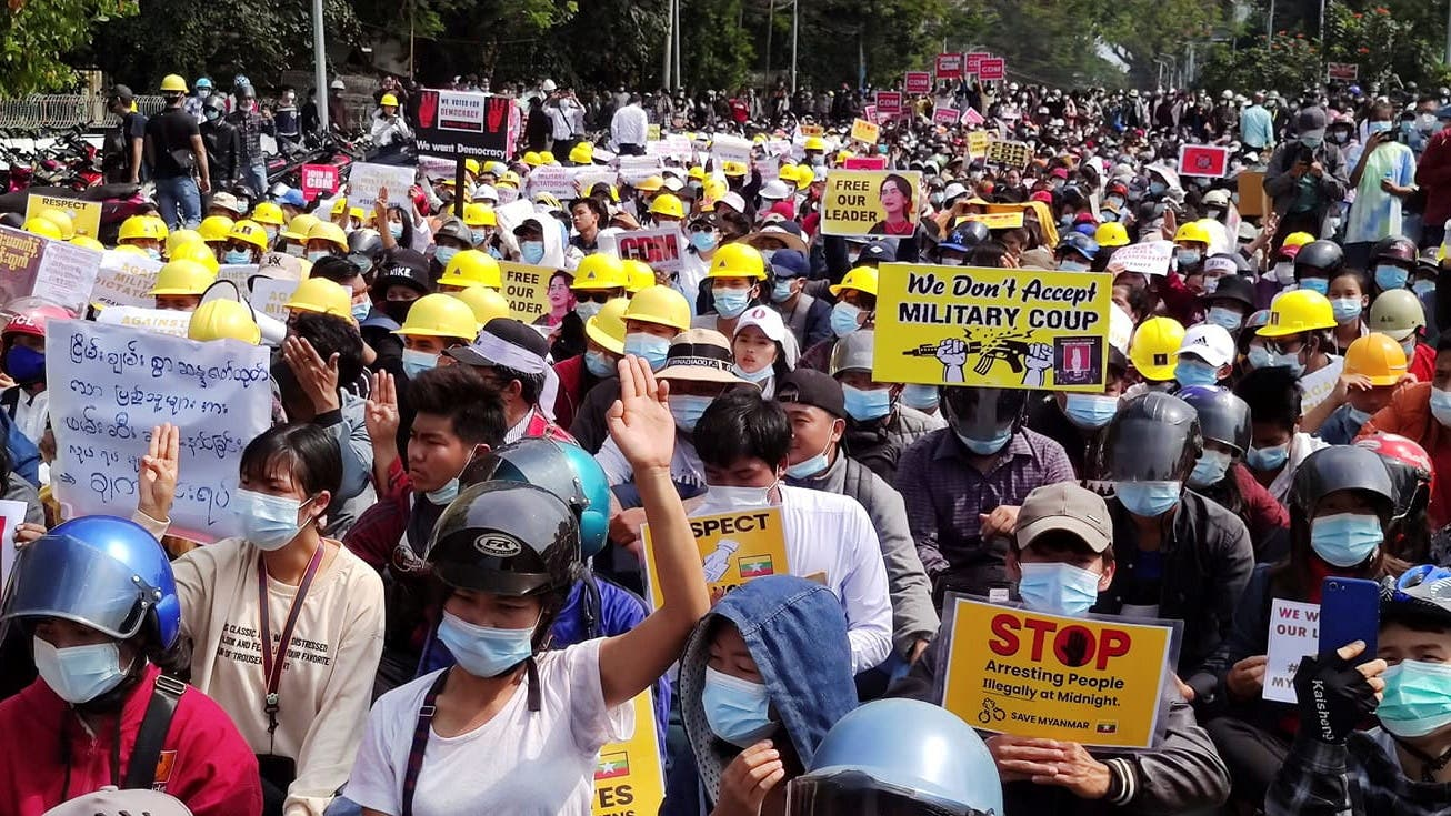 Protest against the military coup, in Myitkyina. (Reuters)