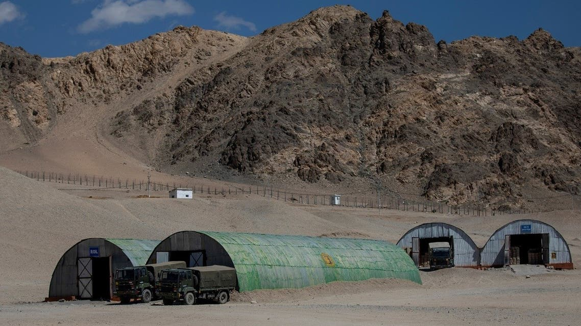 Military trucks are parked outside the storage facilities at a supply depot in Leh, in the Ladakh region, September 15, 2020. (Reuters/Danish Siddiqui)