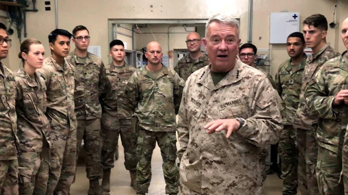 Marine General Kenneth McKenzie, head of U.S. Central Command, speaks with U.S. troops while visiting Forward Operating Base Fenty in Jalalabad, Afghanistan, September 9, 2019. REUTERS/Phil Stewart