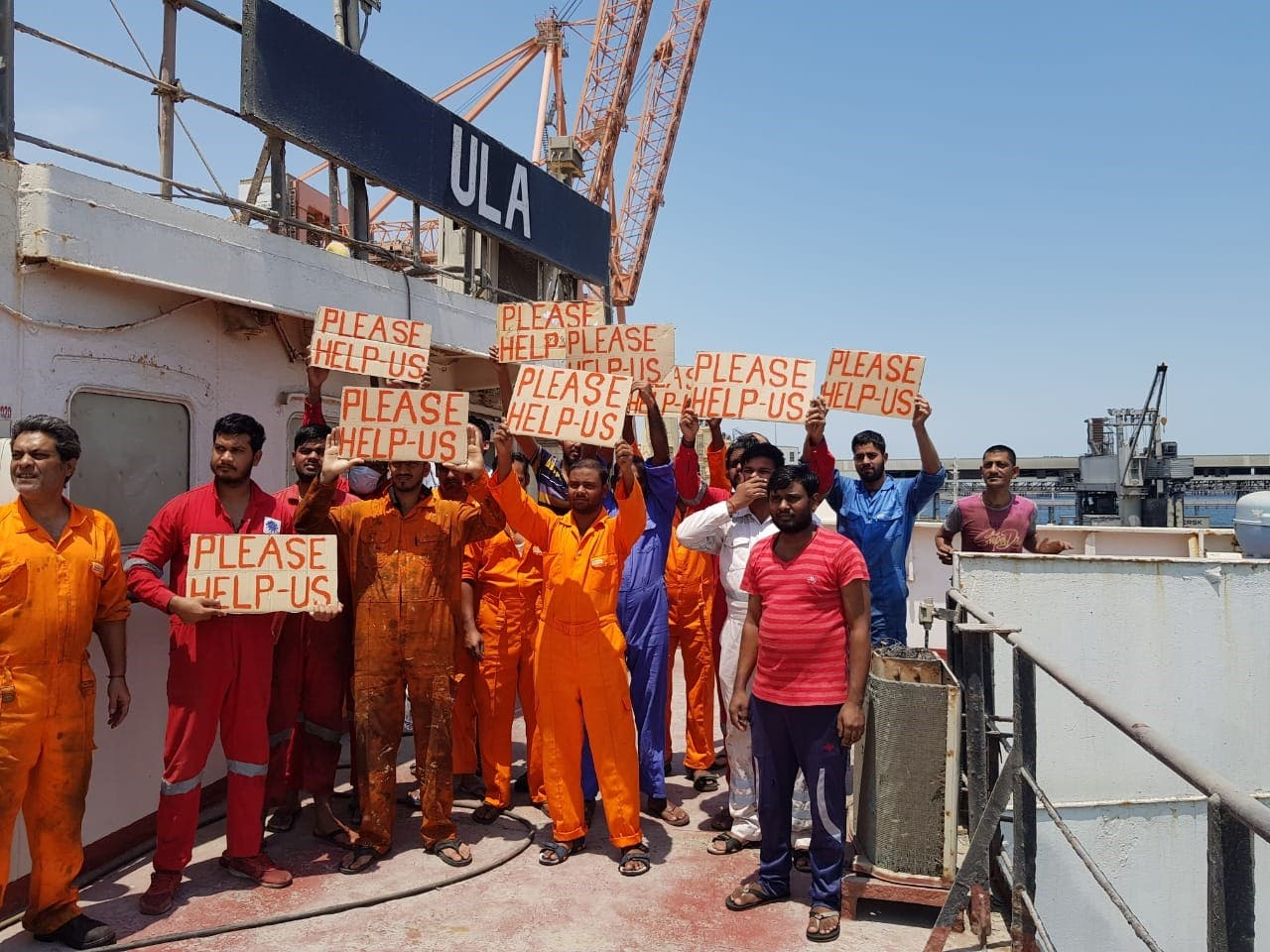 Onboard the vessel M/V Ula in Kuwait,19 abandoned seafarers went on hunger strike in protest over unpaid wages backdated for more than a year. (Supplied)