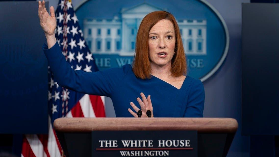 White House Press Secretary Jen Psaki at a press briefing at the White House, Feb. 22, 2021. (AP)