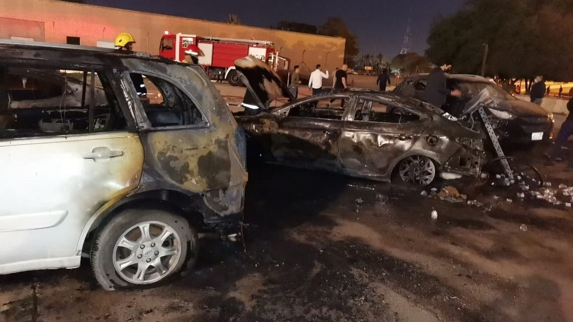This Feb. 22, 2021 photo shows destroyed vehicles as a result of the rocket attack on Baghdad's Green Zone. (Supplied)