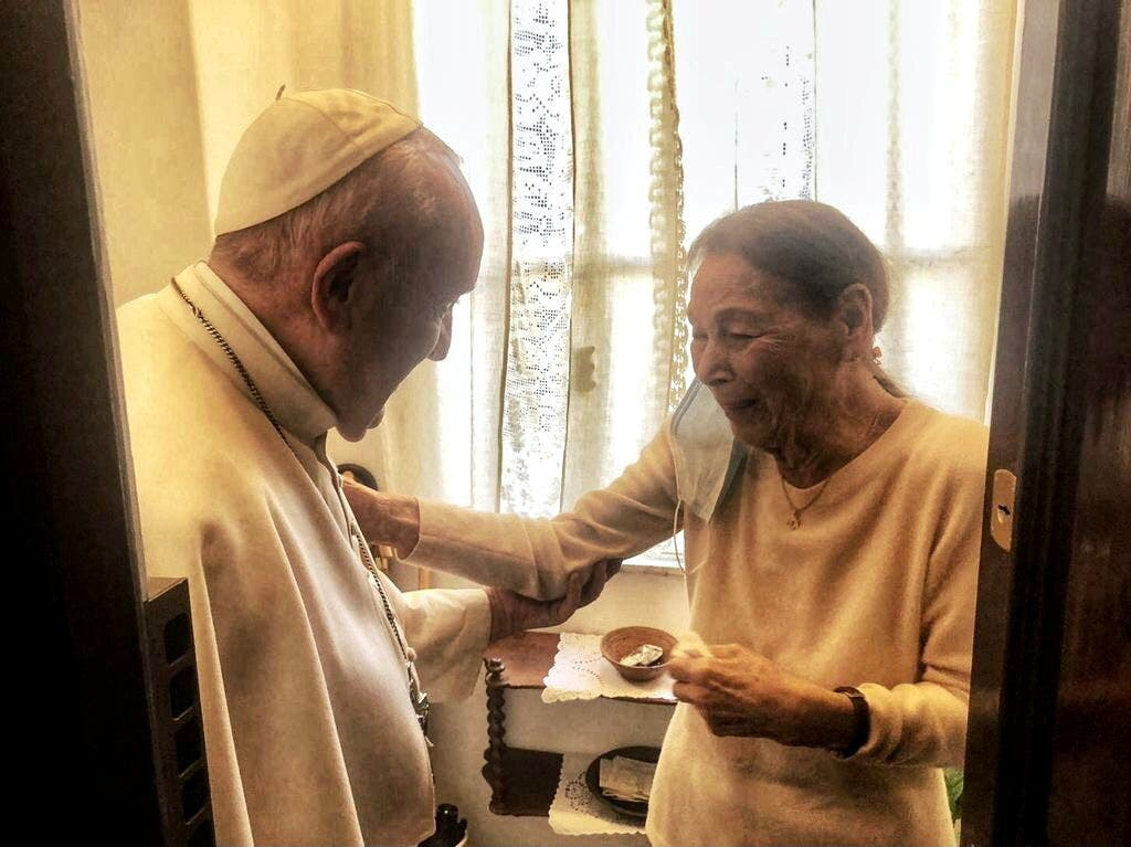 Pope Francis meets with poetess and Holocaust survivor, Edith Bruck, in Rome, Italy, February 20, 2021. (Vatican Media via Reuters)