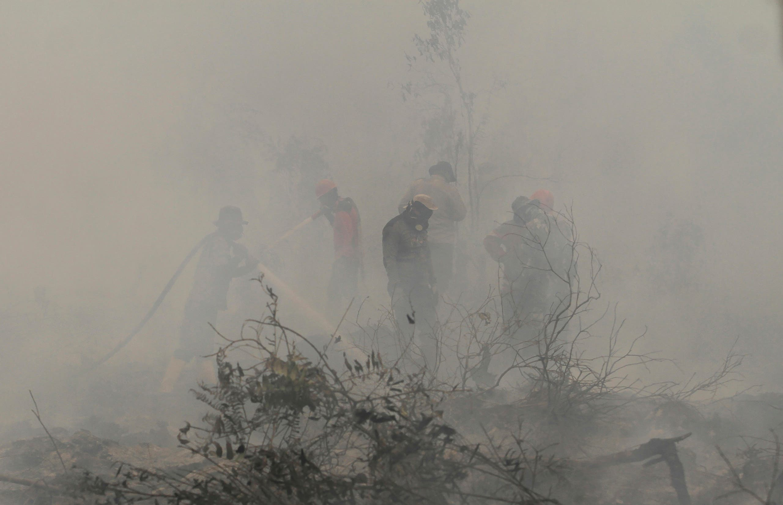 Firefighters spray water to extinguish a forest fire in Kampar, Riau province, Indonesia, Monday, Sept. 23, 2019. (AP)