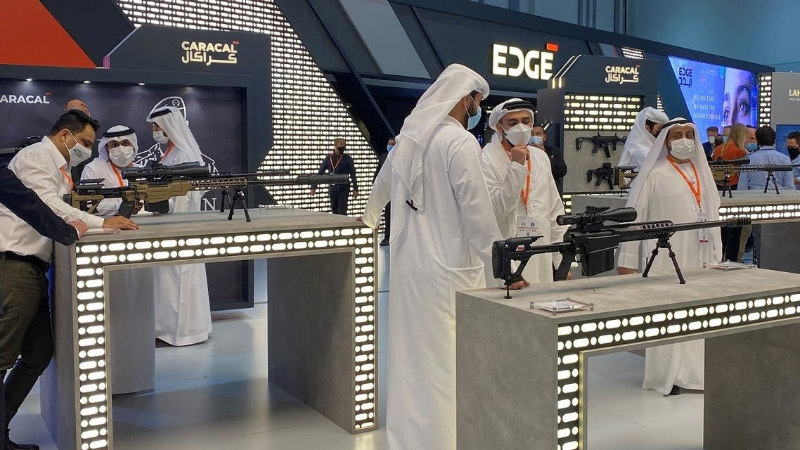 People are seen at the EDGE exhibit in the International Defense Exhibition, Abu Dhabi, United Arab Emirates February 22, 2021. (Reuters/Abdel Hadi Ramahi)