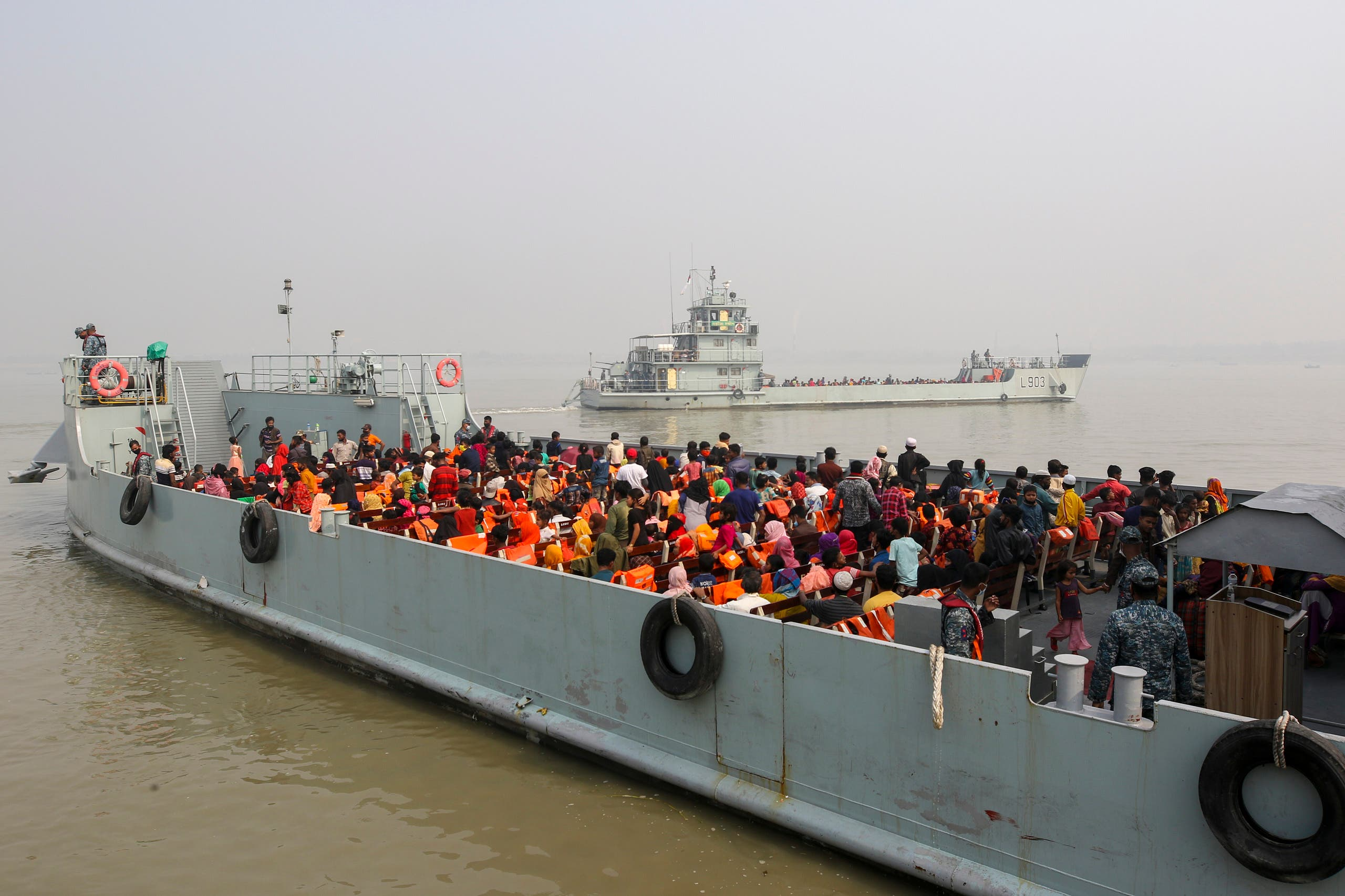 Rohingya refugees headed to the Bhasan Char island leave on navy vessels from the south eastern port city of Chattogram, Bangladesh, February15,2021. (AP)