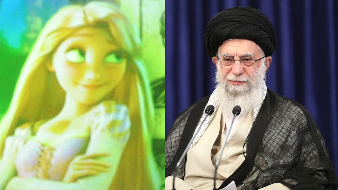 Combination photo shows the charachter Rapunzel from the Disney animated film Tangled on the left, Iran's Supreme Leader Ali Khamenei on the right. (AFP)