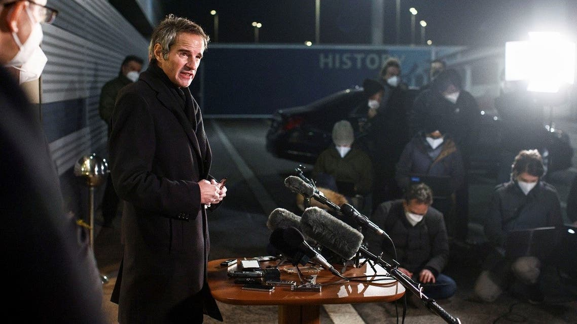 International Atomic Energy Agency (IAEA) Director General Rafael Grossi addresses the media upon his arrival from Tehran, at Vienna International Airport in Schwechat, Austria February 21, 2021. (Reuters)