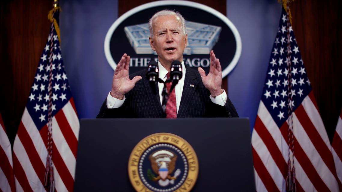 US President Joe Biden visits the Pentagon in Arlington, Virginia. (Reuters)