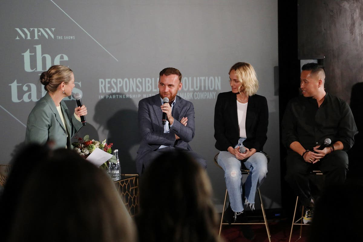 Journalist Dana Thomas, Dean of Fashion at Parsons School of Design, Burak Cakmak, IMG Model & Activist, Amber Valetta and Designer Phillip Lim speak on the 'Responsible Revolution' panel in partnership with The Woolmark Company during NYFW: The Shows at Spring Studios on September 06, 2019 in New York City. (AFP)
