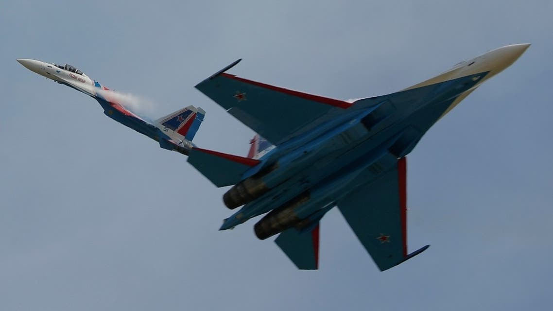 Sukhoi Su-35 jet fighters of the Russian Knights aerobatic team at Kubinka airbase in Moscow, Aug. 25, 2020. (Reuters)