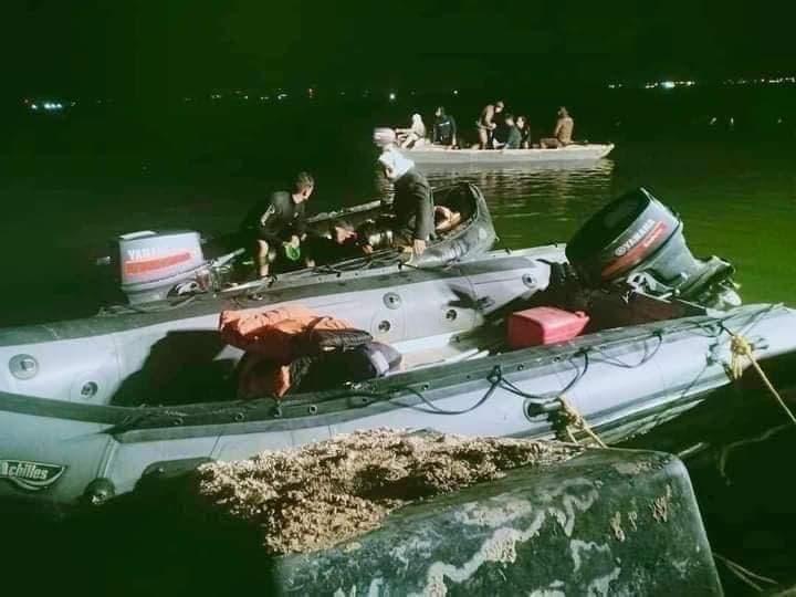 من موقع حادث غرق مركبين ببحيرة مريوط في الإسكندرية