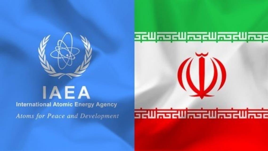 The logo of U.N. nuclear watchdog International Atomic Energy Agency and Iran's flag. (Twitter)