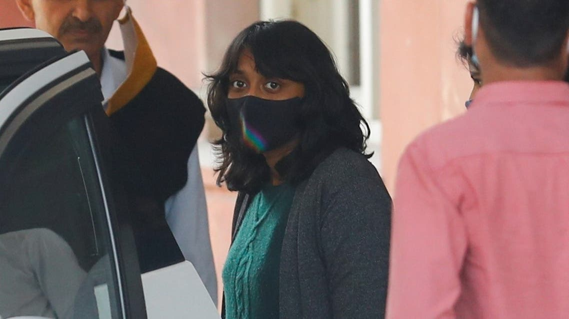 Disha Ravi, a 22-year-old climate activist, leaves after an investigation at National Cyber Forensic Lab, in New Delhi, India, on February 23, 2021. (Reuters)
