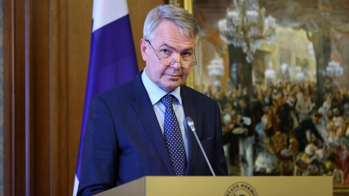 A file photo of Finnish FM Pekka Haavisto attends a press conference with his Russian counterpart in Saint Petersburg, February 15, 2021. (Russian Foreign Ministry/AFP)