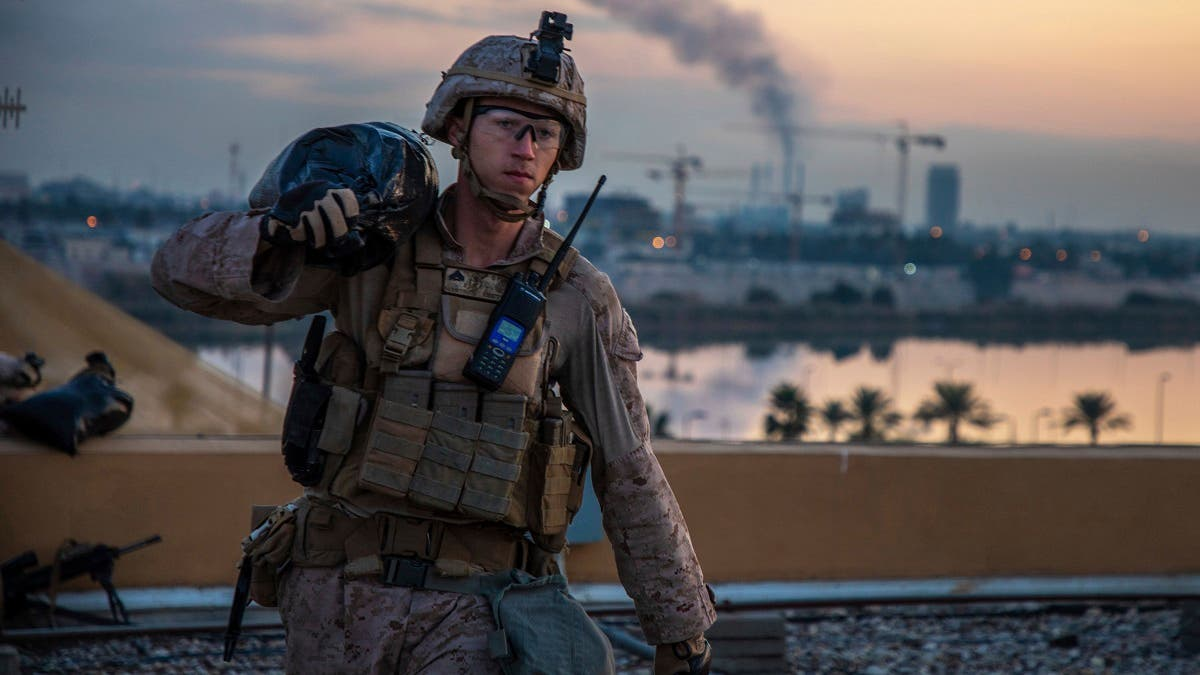 In this Saturday, Jan. 4, 2020, photo, a US Marine during the reinforcement of the US embassy compound in Baghdad, Iraq. (AP)