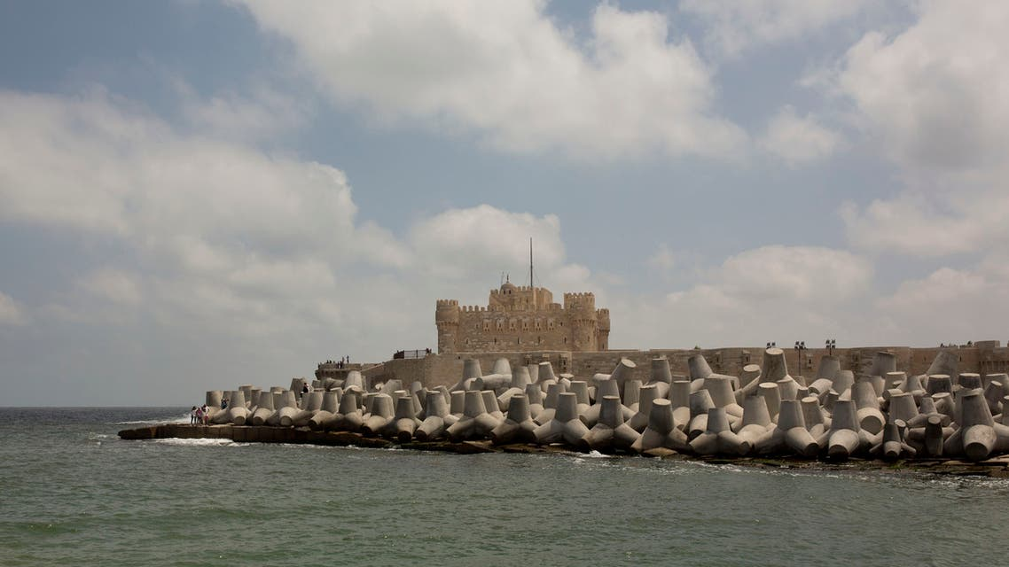 In this Aug. 8, 2019 photo, cement barriers reinforce the sea wall near the citadel in Alexandria, Egypt. (AP)