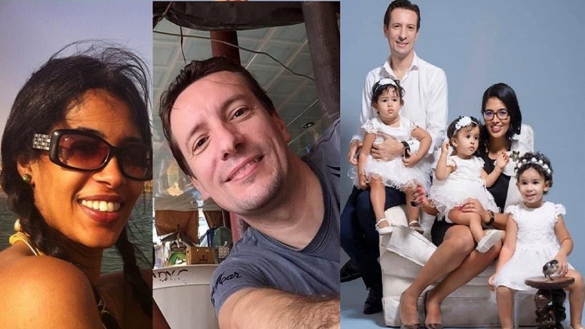 صورة من فيسبوك للأرملة وزوجها القتيل وأطفالها