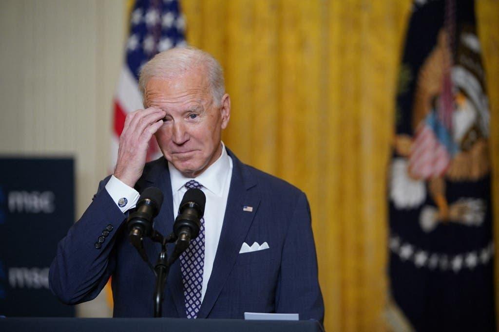 US President Joe Biden speaks from the East Room of the White House in Washington, DC, on February 19, 2021. (AFP)