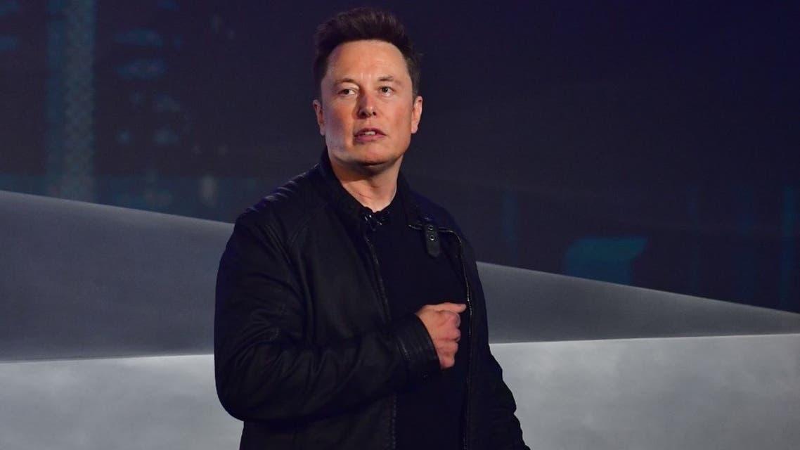Tesla co-founder and CEO Elon Musk speaks at Tesla Design Center in California on November 21, 2019. (AFP)