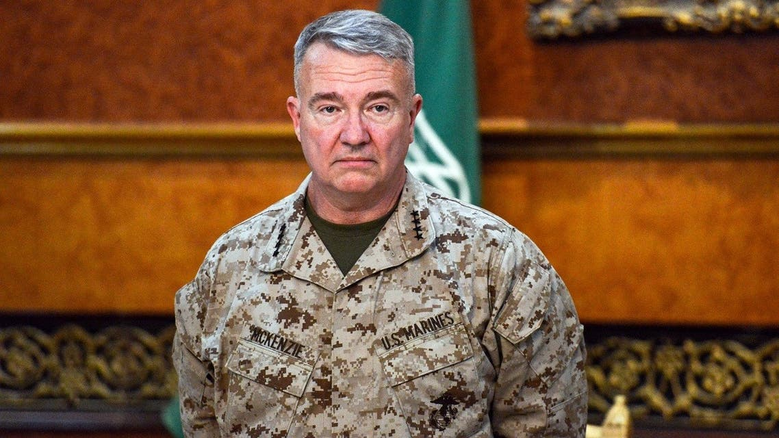 CENTCOM chief Kenneth McKenzie during his visit to a military base in al-Kharj in central Saudi Arabia on July 18, 2019. (AFP)